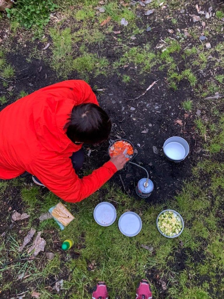 cocinando en laguna del caminante